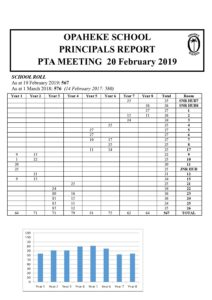 Principal's Report to the PTA - 20 February 2019 - Opaheke