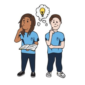 Learner Dispositions | Thinker | 2 students thinking - light bulb as an idea between them